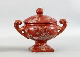 Crimson Garden Pattern - Luxury Hand Painted Porcelain - 9.5 Inch Tureen