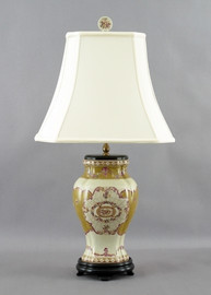 Subtle Violets Pattern - Luxury Hand Painted Porcelain - 29 Inch Lamp
