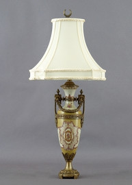 Subtle Violets Pattern - Luxury Hand Painted Porcelain and Gilt Bronze Ormolu - 30 Inch Lamp