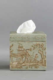 Celadon Toile Pattern - Luxury Hand Painted Porcelain - 5.75 Inch Tissue Box