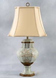 Celadon Toile Pattern - Luxury Hand Painted Porcelain and Gilt Bronze Ormolu - 28 Inch Lamp