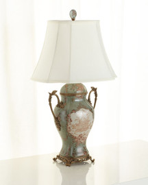 Celadon Serenity Pattern - Luxury Hand Painted Porcelain and Gilt Bronze Ormolu - 33 Inch Lamp