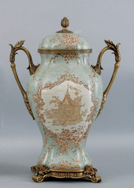 Celadon Serenity Pattern - Luxury Hand Painted Porcelain and Gilt Bronze Ormolu - 17 Inch Covered Urn, Jar