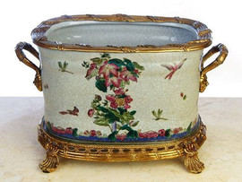 Birds, Butterflies, and Dragonflies - Luxury Hand Painted Porcelain and Gilt Bronze Ormolu - 13.5 Inch Oval Planter