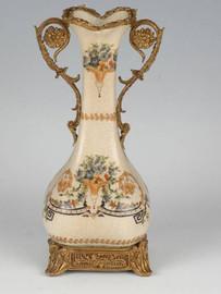 Subtle Bouquets - Luxury Hand Painted Porcelain and Gilt Bronze Ormolu - 11 Inch Bud Vase