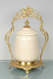 Solid Beige Crackle - Luxury Hand Painted Porcelain and Gilt Bronze Ormolu - 12 Inch Covered Dish, Jar on Brass Stand