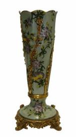 Lavish Bird Garden - Luxury Hand Painted Porcelain and Gilt Bronze Ormolu - 11 Inch Vase