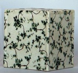 Off White and Green Ivy - Luxury Hand Painted Chinese Porcelain - 6 Inch Boudoir - Boutique Tissue Box - Style M422