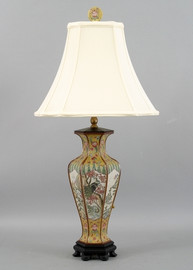 The Proudest Peacock Pattern - Luxury Hand Painted Porcelain - 27 Inch Lamp