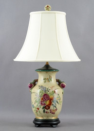 Flowers In Bloom Pattern - Luxury Hand Painted Porcelain - 28 Inch Lamp