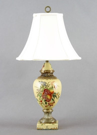 Flowers In Bloom Pattern - Luxury Hand Painted Porcelain and Gilt Bronze Ormolu - 30 Inch Lamp