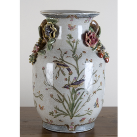 Whispering Nature Pattern - Luxury Hand Painted Porcelain Vase - 14 Inch Height