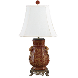 Janja Pattern - Luxury Hand Painted Porcelain and Gilt Bronze Ormolu - 29 Inch Lamp
