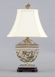 Whispering Nature Pattern - Luxury Hand Painted Porcelain - 19 Inch Lamp