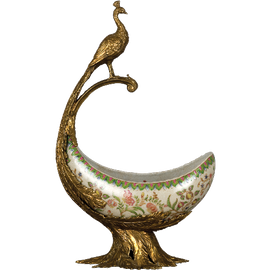 Bold Peacock Pattern - Luxury Hand Painted Porcelain and Gilt Bronze Ormolu - 19 Inch Pedestal Bowl | Compotier