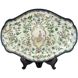 Climbing Rose Pattern - Luxury Hand Painted Porcelain - 20 Inch Decorative Platter