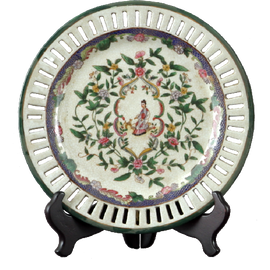 Climbing Rose Pattern - Luxury Hand Painted Porcelain - 10 Inch Decorative Plate