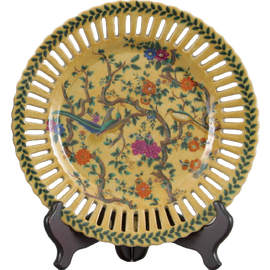 Yellow Floral Pattern - Luxury Hand Painted Porcelain - 10 Inch Decorative Plate