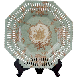 Celadon Serenity Pattern - Luxury Handmade Porcelain - 14 Inch Octagonal Decorative Display Plate