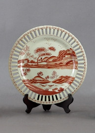 Red and White Pattern - Luxury Hand Painted Porcelain - 10 Inch Decorative Plate