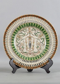 Vert Fougere Pattern - Luxury Hand Painted Porcelain - 14 Inch Decorative Plate