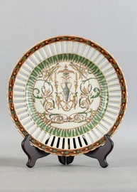 Vert Fougere Pattern - Luxury Hand Painted Porcelain - 10 Inch Plate