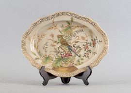 Tropical Paradise Pattern - Luxury Hand Painted Porcelain - 14.5 Inch Decorative Platter