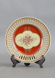 Floral Majesty Pattern - Luxury Hand Painted Porcelain - 10 Inch Decorative Plate