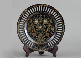 Floral Drama Pattern - Luxury Hand Painted Porcelain - 10 Inch Decorative Plate