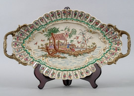 My Own Private Island Pattern - Luxury Hand Painted Porcelain and Gilt Bronze Ormolu - 21 Inch Oval Display Platter