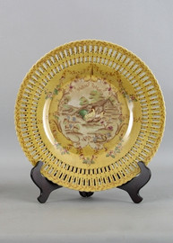 French Countryside Pattern - Luxury Hand Painted Porcelain - 14 Inch Decorative Plate