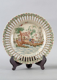 My Own Private Island Pattern - Luxury Hand Painted Porcelain - Pair of Round 10 Inch Decorative Display Plates