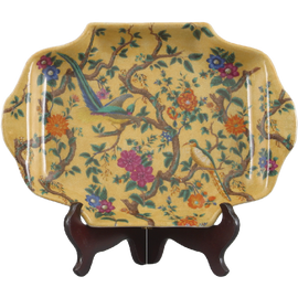 Yellow Floral Pattern - Luxury Hand Painted Porcelain - 14 Inch Decorative Plate,Tray