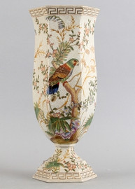 Tropical Paradise Pattern - Luxury Hand Painted Porcelain - 18.5 Inch Vase