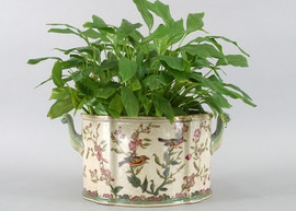 Aviary Elegance Pattern - Luxury Hand Painted Porcelain - 13 Inch Planter