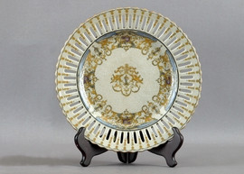 Crested Cassolette Urn Pattern - Luxury Hand Painted Porcelain - 10 Inch Decorative Plate