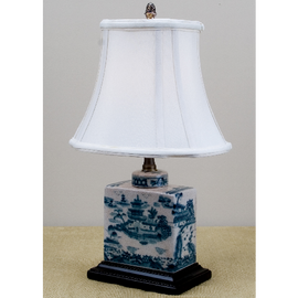 Blue and White Pagoda Porcelain Desk Lamp with Silk Shade