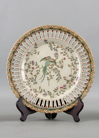 Avian and Floral Pattern - Luxury Hand Painted Porcelain - 10 Inch Decorative Plate
