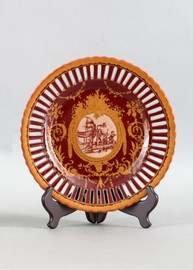On the Bank Pattern - Luxury Hand Painted Porcelain - 10 Inch Plate