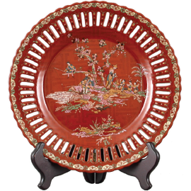 Crimson Garden Pattern - Luxury Hand Painted Porcelain - 10 Inch Plate