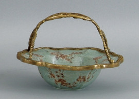 Celadon Serenity Pattern - Luxury Hand Painted Porcelain and Gilt Bronze Ormolu - 6.25 Inch Basket Bowl