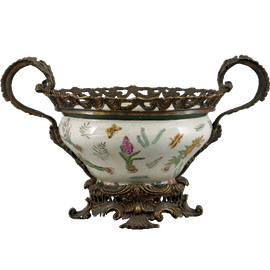 Bulbs and Butterflies Pattern - Luxury Hand Painted Porcelain and Gilt Bronze Ormolu - 18 Inch Bowl, Centerpiece