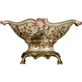 Bold Peacock Pattern - Luxury Hand Painted Porcelain and Gilt Bronze Ormolu - 14 Inch Footed Bowl