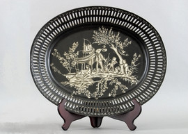 Ebony Black Toile Pattern - Luxury Hand Painted Porcelain - 18 Inch Oval Plate