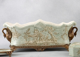 Celadon Toile Pattern - Luxury Hand Painted Porcelain and Gilt Bronze Ormolu - 16 Inch Rectangular Planter