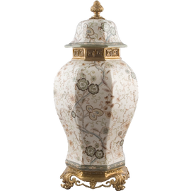 Covered Cassolette Urn - Luxurious Handmade Porcelain - Soft Whispers Pattern - 22t x 10dia.