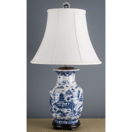 Blue and White Pagoda Porcelain Lamp with Silk Shade
