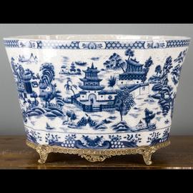 Classic Blue and White Porcelain Centerpiece Centerpiece Planter with Bronze Mounts