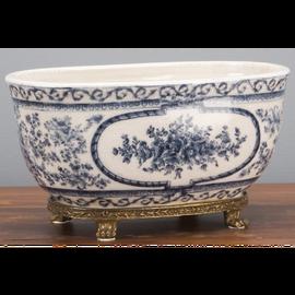 "Blue and White Classic Porcelain Tabletop Centerpiece Planter 10"""