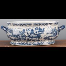 "Blue and White Classic Porcelain Tabletop Centerpiece Planter 26"""